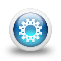 075788 3d glossy blue orb icon business gear5